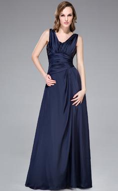 Vestidos princesa/ Formato A Decote V Longos Chiffon Acetinado Vestido de festa com Pregueado Bordado (008040833)