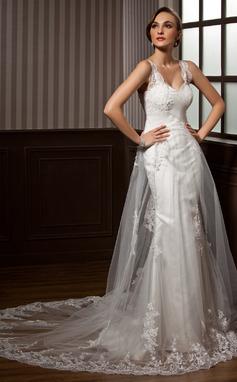 A-Lijn/Prinses Sweetheart Kapel sleep Tule Bruidsjurk met Roes Kant (002011450)