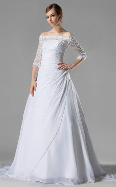 A-Line/Princess Off-the-Shoulder Chapel Train Chiffon Lace Wedding Dress With Ruffle Beading Sequins (002005194)