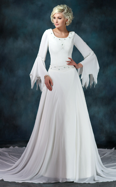 A-Line/Princess Scoop Neck Chapel Train Chiffon Wedding Dress With Ruffle Beading (002012145)