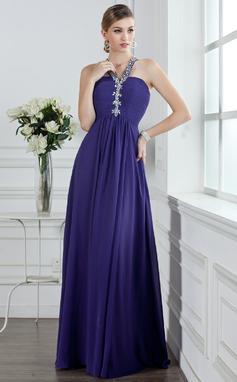A-Linie/Princess-Linie V-Ausschnitt Bodenlang Chiffon Abiballkleid mit Rüschen Perlen verziert (018004956)
