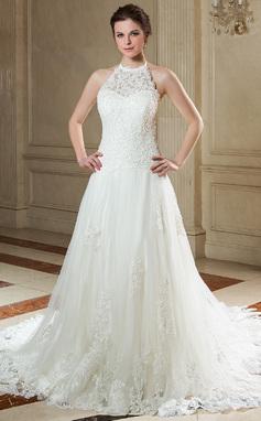 Forme Princesse Dos nu Traîne moyenne Tulle Dentelle Robe de mariée avec Emperler Sequins (002000141)