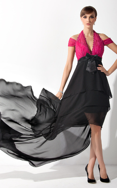 A-Line/Princess Halter Asymmetrical Chiffon Charmeuse Lace Mother of the Bride Dress With Ruffle Bow(s) (008015145)