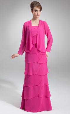 A-Line/Princess Square Neckline Floor-Length Chiffon Mother of the Bride Dress With Cascading Ruffles (008006004)