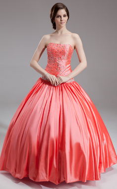 Corte de baile Novio Hasta el suelo Tafetán Vestido de baile de promoción con Cuentas (018135536)