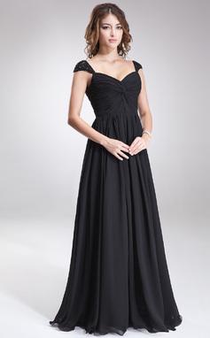 Vestidos princesa/ Formato A Coração Chá comprimento De chiffon Vestido de madrinha com Pregueado Bordado Lantejoulas (007016866)
