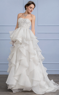 A-Line/Princess Sweetheart Sweep Train Organza Lace Wedding Dress (002107837)