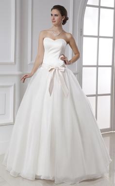 De baile Coração Longos Cetim Organza de Vestido de noiva com Cintos Curvado (002015478)