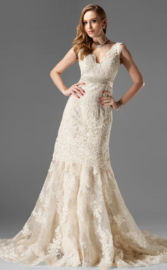 Trumpet/Mermaid V-neck Chapel Train Organza Lace Wedding Dress With Beading (002000249)