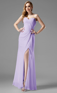 Sheath/Column Sweetheart Floor-Length Chiffon Holiday Dress With Ruffle Split Front (026013083)