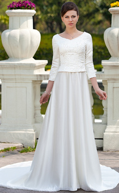 A-Line/Princess Scoop Neck Chapel Train Satin Wedding Dress With Embroidered Beading (002012641)