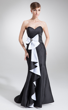 Trumpet/Mermaid Sweetheart Sweep Train Taffeta Holiday Dress With Beading Sequins Bow(s) Cascading Ruffles (020026021)