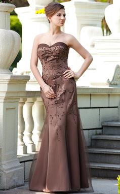 Trompete/Sereia Coração Longos Cetim Vestido para a mãe da noiva com Bordado Lantejoulas (008018737)