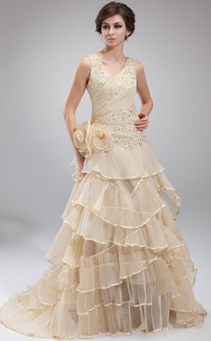 A-Line/Princess V-neck Court Train Organza Holiday Dress With Beading Appliques Lace Flower(s) Cascading Ruffles Pleated (020025967)