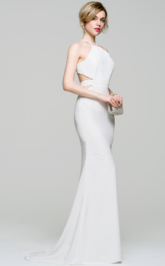 Trumpet/Mermaid Scoop Neck Sweep Train Jersey Prom Dress (018103277)