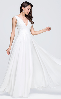 A-Line V-neck Floor-Length Chiffon Wedding Dress With Ruffle (002118451)