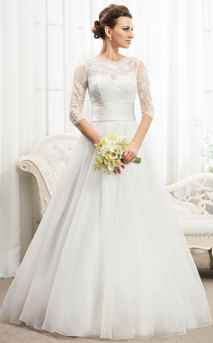 Ball-Gown Scoop Neck Floor-Length Organza Wedding Dress With Ruffle Beading Sequins (002056467)