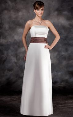 A-Line/Princess Strapless Floor-Length Satin Bridesmaid Dress With Ruffle Sash (007001774)