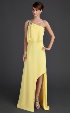 A-Line/Princess One-Shoulder Asymmetrical Chiffon Holiday Dress With Beading Split Front (008015651)