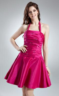 Vestidos princesa/ Formato A Cabresto Curto/Mini Tafetá Vestido de boas vindas com Pregueado Bordado (022020623)