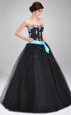 Платье для Балла В виде сердца Длина до пола Тюль Пышное платье с Лента Бисер аппликации кружева (021004714)