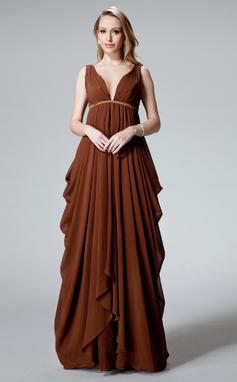 С завышенной талией V-образный Длина до пола шифон Вечерние Платье с Рябь (017025830)