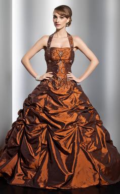 Ball-Gown Halter Floor-Length Taffeta Quinceanera Dress With Ruffle Beading (021014753)