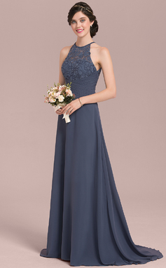 A-Line/Princess Scoop Neck Sweep Train Chiffon Lace Bridesmaid Dress With Ruffle Bow(s) (007126439)