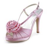 Mulher Cetim Salto cone Plataforma Sandálias Sapatos abertos com Flor de Cetim (047020149)