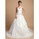 De baile Coração Comboios Catedral Tafetá Vestido de noiva com Pregueado Bordado Apliques de Renda (002014720)