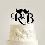 Personalizado Iniciais da noiva & do noivo Acrílico Decorações de bolos (119187798)