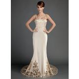 Trompete/Sereia Cauda longa Charmeuse Vestido de noiva com Renda (002015727)