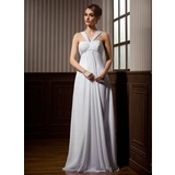 Empire V-neck Watteau Train Chiffon Wedding Dress With Ruffle Beading (002011424)