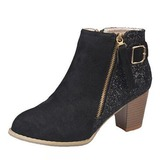 Women's Suede Sparkling Glitter Chunky Heel Pumps Closed Toe Boots Mid-Calf Boots With Sequin shoes (088176472)