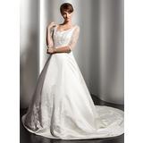 Платье для Балла V-образный Церковный шлейф Атлас Свадебные Платье с кружева Бисер (002014523)