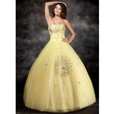 De baile Sem Alças Longos Organza de Vestido quinceanera com Bordado (021017112)