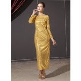 Sheath/Column Scoop Neck Ankle-Length Sequined Holiday Dress (020025934)