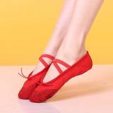 Женщины Холст На плокой подошве Балет Танец живота с Ремешок на щиколотке Обувь для танцев (053108931)