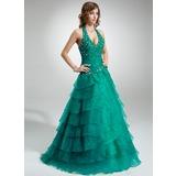 De baile Cabresto Longos Organza de Vestido quinceanera com Pregueado Bordado Apliques de Renda Babados em cascata (021016403)