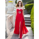 Empire Sweetheart Floor-Length Chiffon Prom Dress With Ruffle Beading Split Front (018024658)