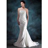 Trumpet/Mermaid Strapless Court Train Taffeta Wedding Dress With Ruffle Beading Appliques Lace (002000494)