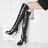 Femmes PU Talon stiletto Escarpins Plateforme Cuissardes avec Zip chaussures (088140256)