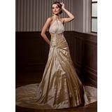 Трапеция/Принцесса С бретелью через шею Церковный шлейф Тафта Свадебные Платье с Рябь Бисер (002004550)