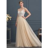 Corte A Decote V Sweep/Brush trem Tule Vestido de noiva com Beading (002171945)