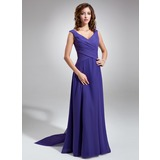 Chiffon V-neck Floor-length A-Line Bridesmaid Dress With Sash (007001484)