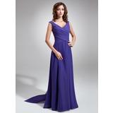 Трапеция/Принцесса V-образный Длина до пола шифон Платье Подружки Невесты с Рябь Бант(ы) (007001484)
