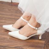 Vrouwen Satijn Chunky Heel Closed Toe Pumps (047113563)