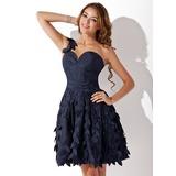 Vestidos princesa/ Formato A Um ombro Curto/Mini Tafetá Vestido de boas vindas com Pregueado (022011401)