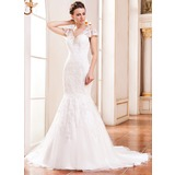 Trumpet/Mermaid V-neck Court Train Lace Wedding Dress With Beading Sequins (002042292)