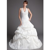 De baile Cabresto Cauda longa Tafetá Vestido de noiva com Pregueado Renda Bordado (002001447)